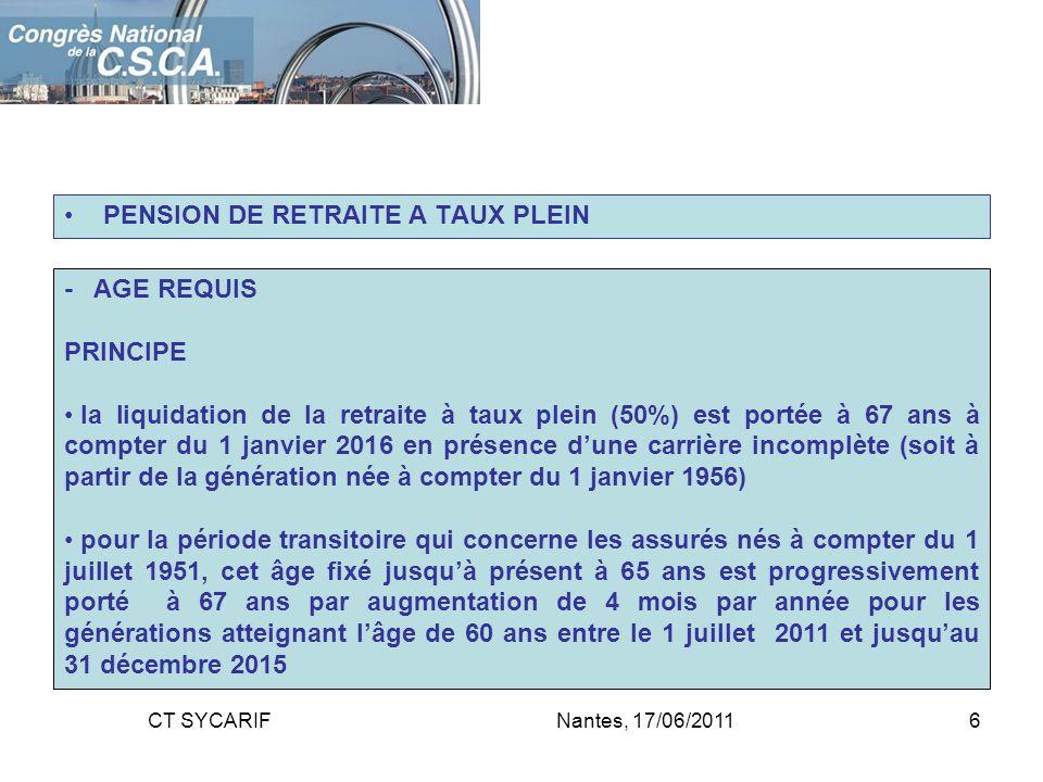PENSION DE RETRAITE A TAUX PLEIN - AGE REQUIS PRINCIPE la liquidation de la retraite à taux plein (50%) est portée à 67 ans à compter du 1 janvier 201