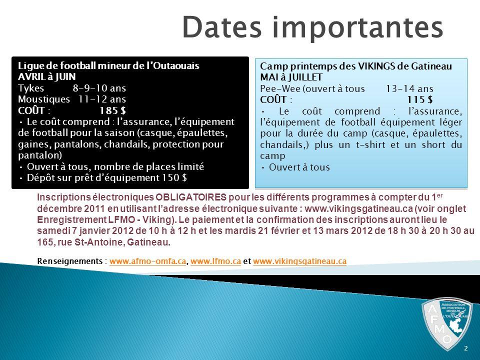 Dates importantes 2 Ligue de football mineur de lOutaouais AVRIL à JUIN Tykes8-9-10 ans Moustiques11-12 ans COÛT : 185 $ Le coût comprend : lassurance