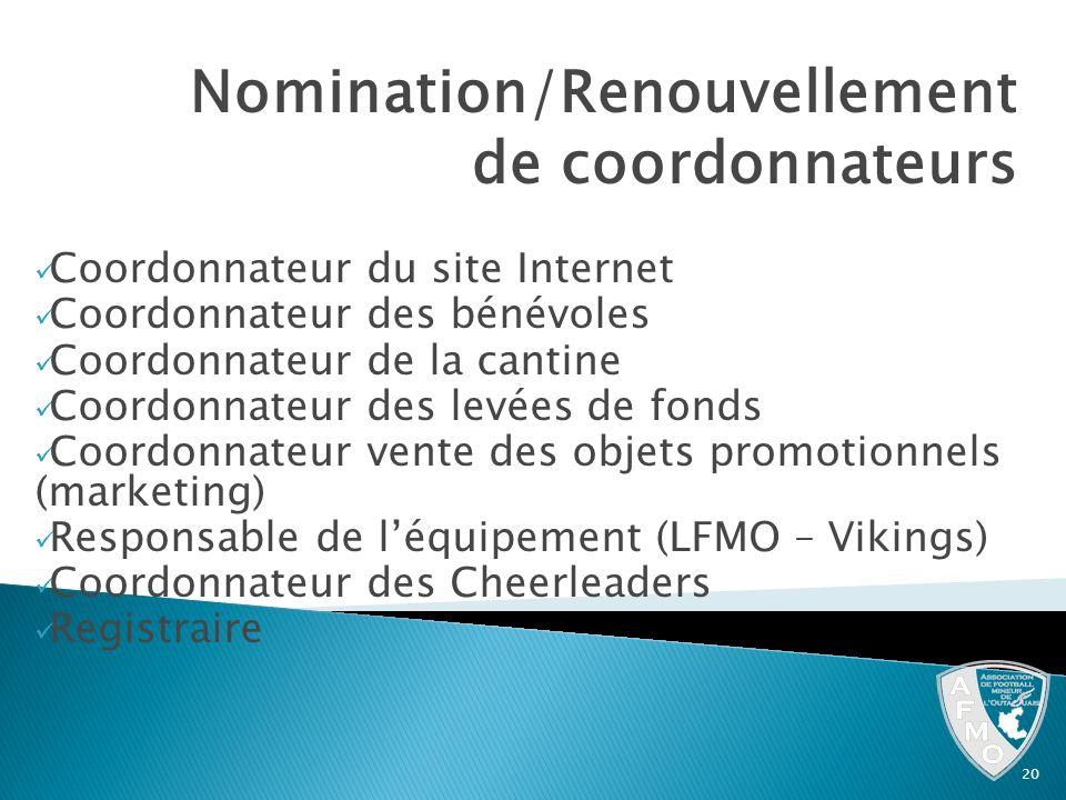 Coordonnateur du site Internet Coordonnateur des bénévoles Coordonnateur de la cantine Coordonnateur des levées de fonds Coordonnateur vente des objet