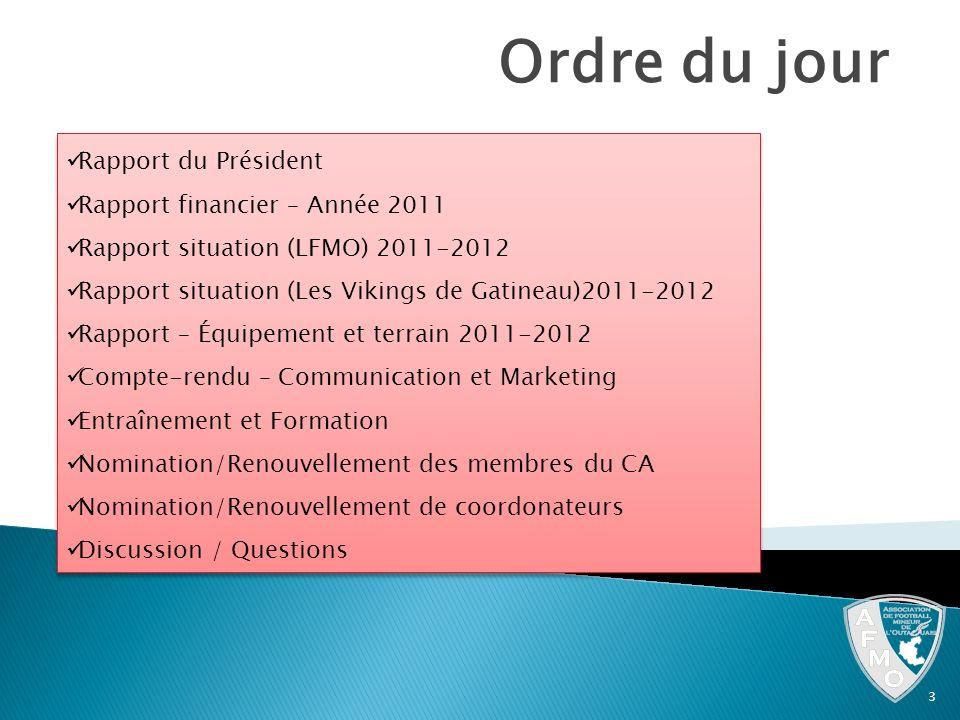 Ordre du jour 3 Rapport du Président Rapport financier – Année 2011 Rapport situation (LFMO) 2011-2012 Rapport situation (Les Vikings de Gatineau)2011