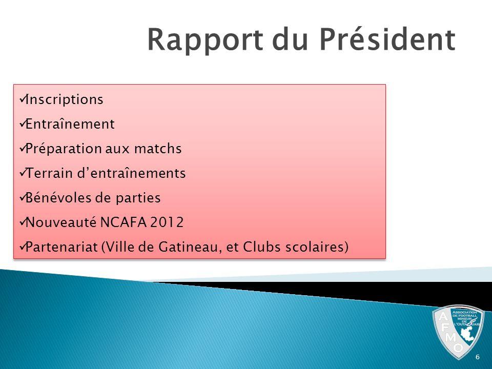 Rapport du Président Inscriptions Entraînement Préparation aux matchs Terrain dentraînements Bénévoles de parties Nouveauté NCAFA 2012 Partenariat (Vi