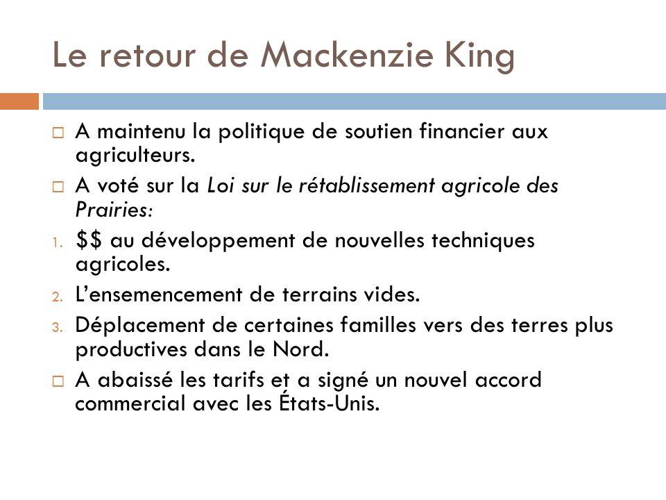 Le retour de Mackenzie King A maintenu la politique de soutien financier aux agriculteurs.