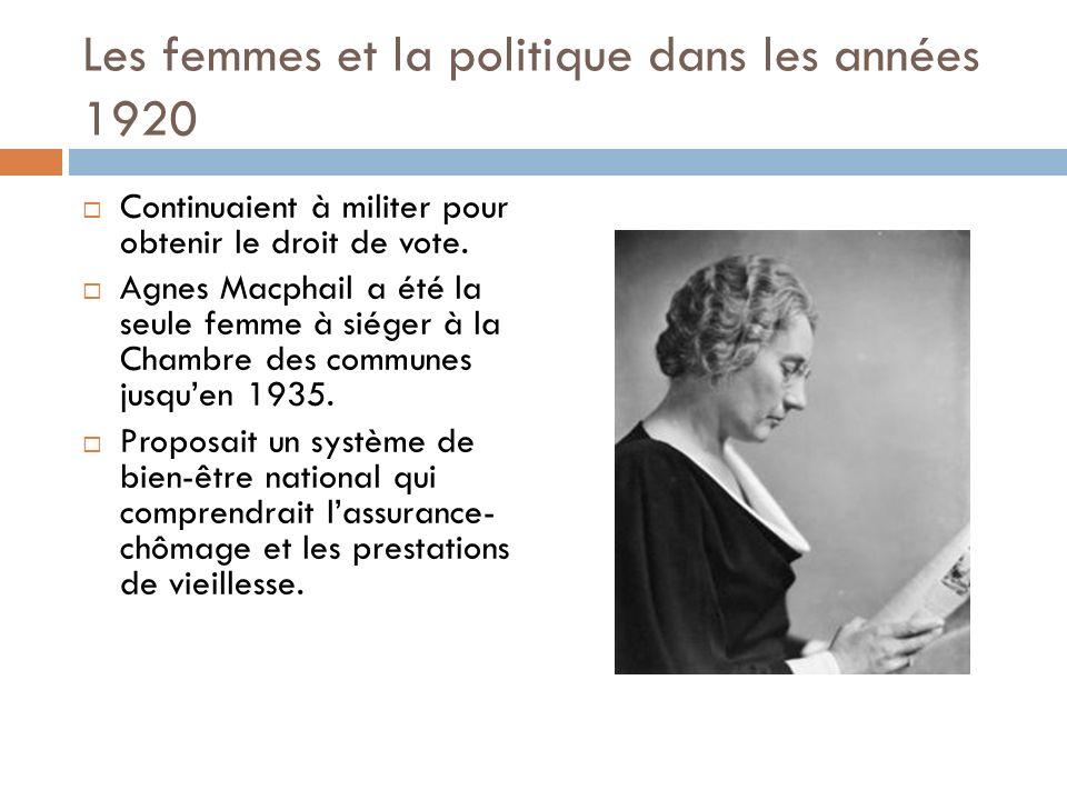 Les femmes et la politique dans les années 1920 Continuaient à militer pour obtenir le droit de vote.