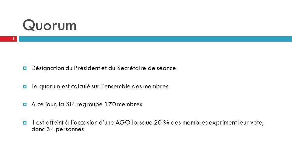 Quorum Désignation du Président et du Secrétaire de séance Le quorum est calculé sur lensemble des membres A ce jour, la SIP regroupe 170 membres Il est atteint à loccasion dune AGO lorsque 20 % des membres expriment leur vote, donc 34 personnes 3