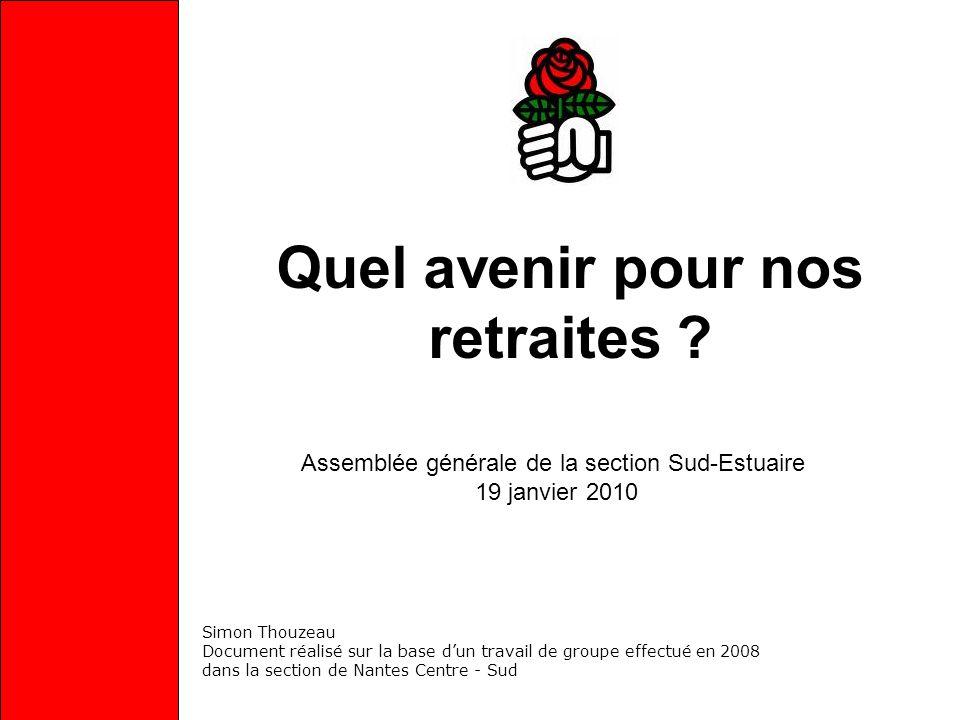 Quel avenir pour nos retraites ? Assemblée générale de la section Sud-Estuaire 19 janvier 2010 Simon Thouzeau Document réalisé sur la base dun travail