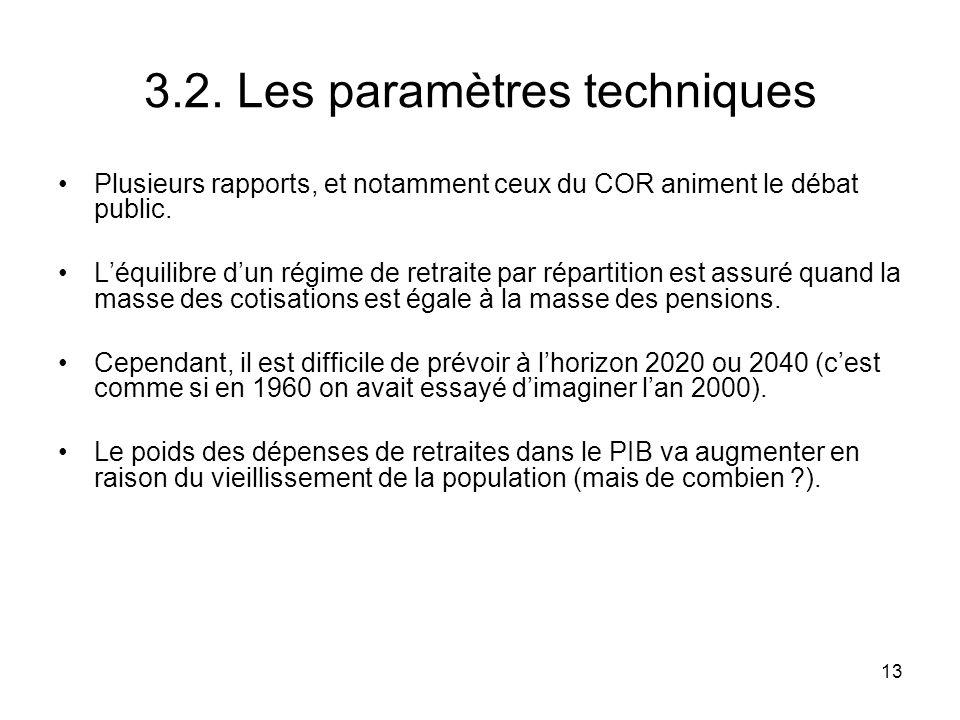 13 3.2. Les paramètres techniques Plusieurs rapports, et notamment ceux du COR animent le débat public. Léquilibre dun régime de retraite par répartit