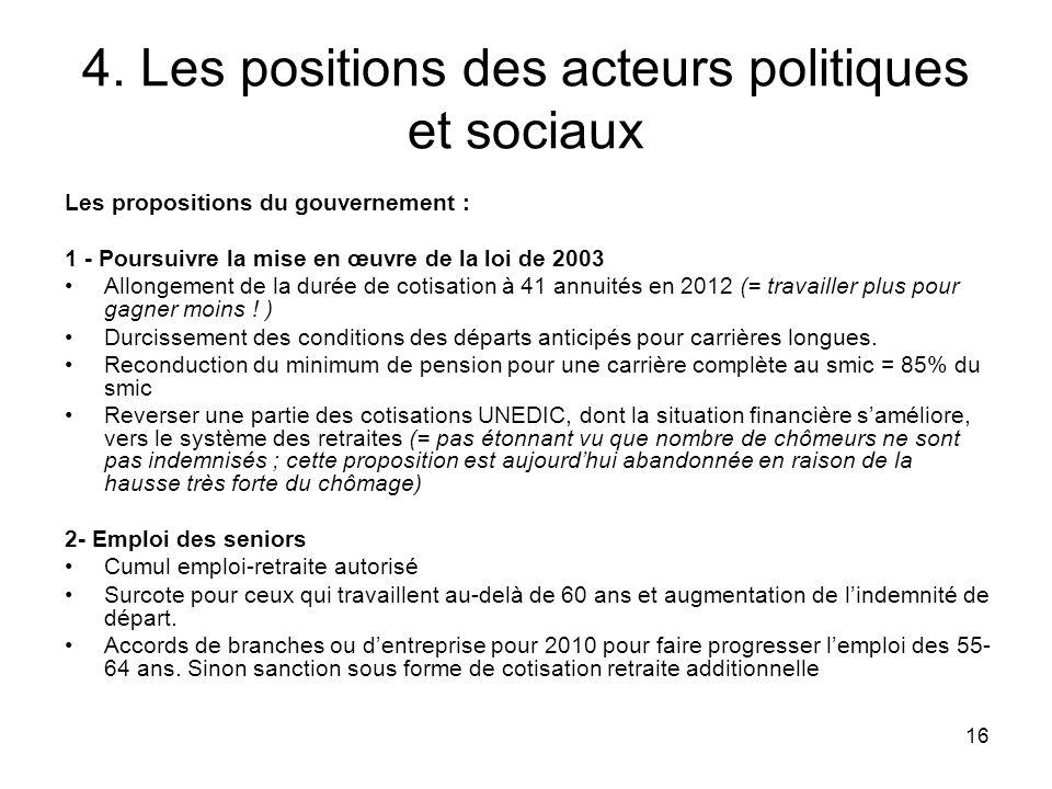 16 4. Les positions des acteurs politiques et sociaux Les propositions du gouvernement : 1 - Poursuivre la mise en œuvre de la loi de 2003 Allongement