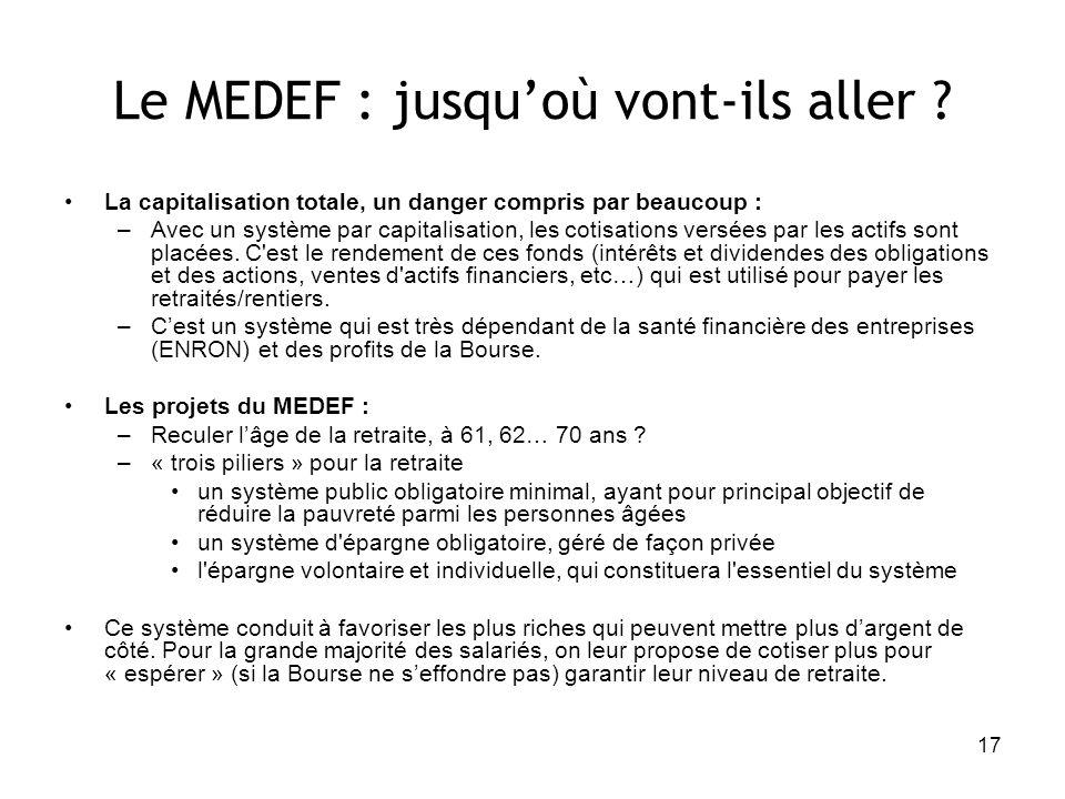17 Le MEDEF : jusquoù vont-ils aller ? La capitalisation totale, un danger compris par beaucoup : –Avec un système par capitalisation, les cotisations