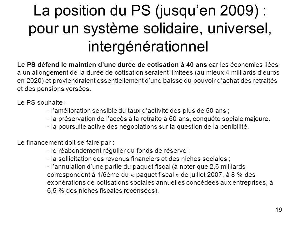 19 La position du PS (jusquen 2009) : pour un système solidaire, universel, intergénérationnel Le PS défend le maintien dune durée de cotisation à 40