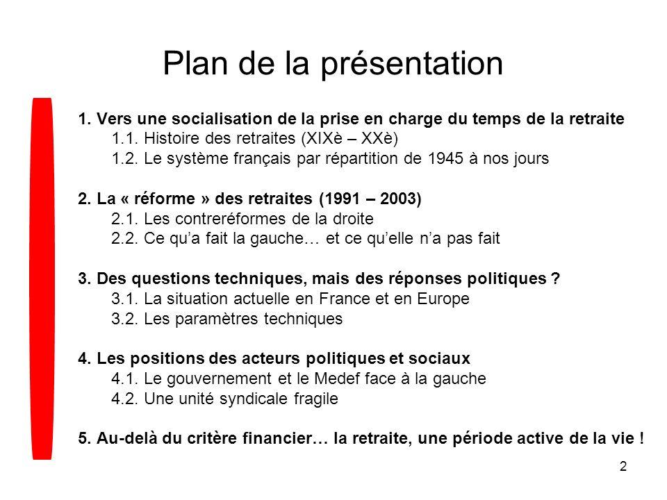 2 Plan de la présentation 1. Vers une socialisation de la prise en charge du temps de la retraite 1.1. Histoire des retraites (XIXè – XXè) 1.2. Le sys
