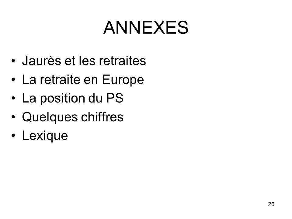 26 ANNEXES Jaurès et les retraites La retraite en Europe La position du PS Quelques chiffres Lexique