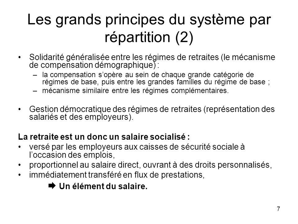 7 Les grands principes du système par répartition (2) Solidarité généralisée entre les régimes de retraites (le mécanisme de compensation démographiqu