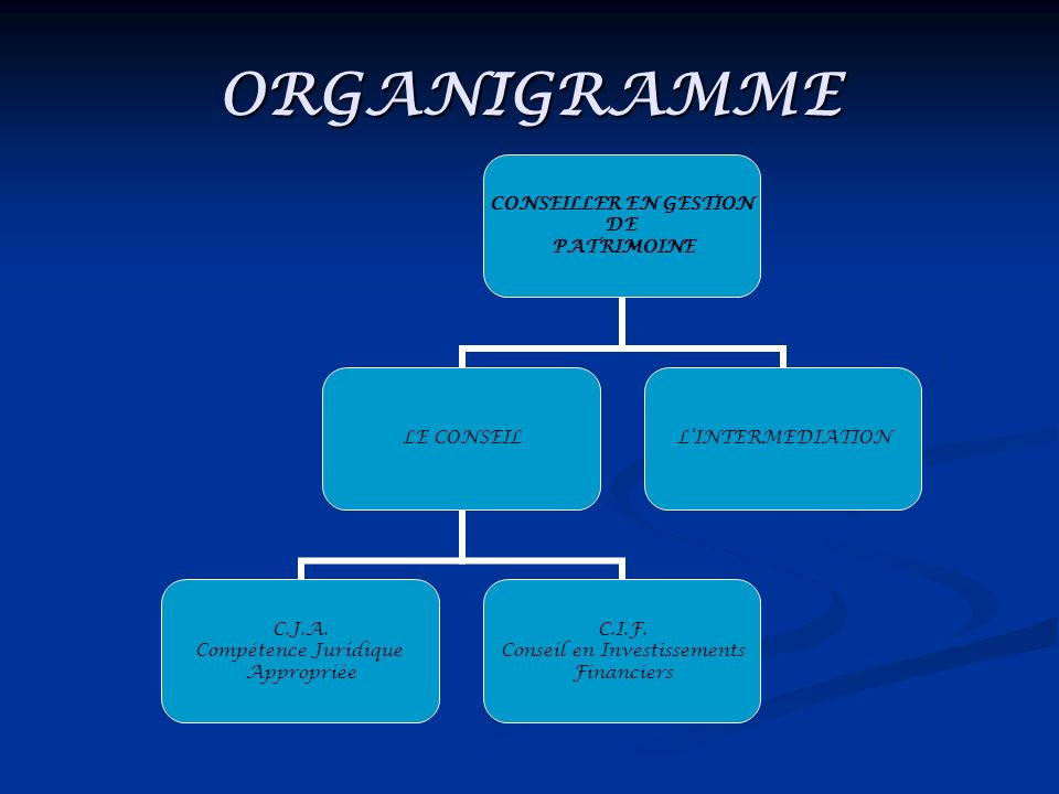 ORGANIGRAMME CONSEILLER EN GESTION DE PATRIMOINE LE CONSEIL C.J.A. Compétence Juridique Appropriée C.I.F. Conseil en Investissements Financiers LINTER