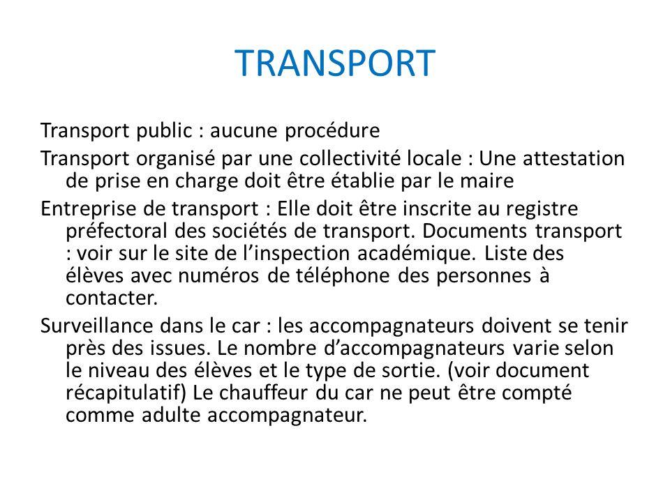 TRANSPORT Transport public : aucune procédure Transport organisé par une collectivité locale : Une attestation de prise en charge doit être établie pa