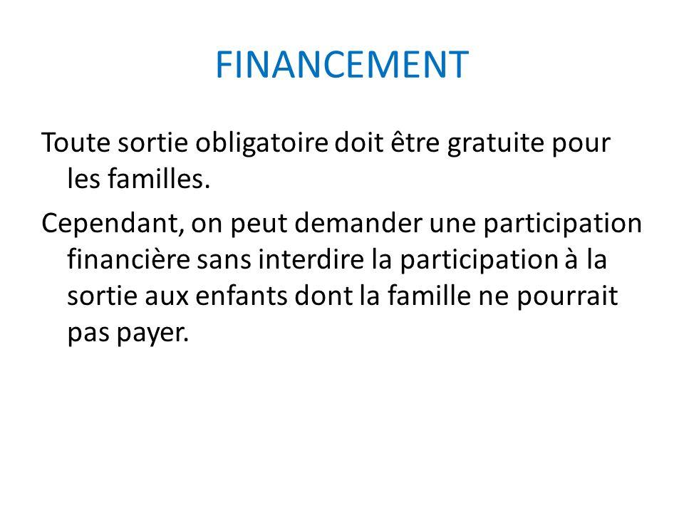 FINANCEMENT Toute sortie obligatoire doit être gratuite pour les familles. Cependant, on peut demander une participation financière sans interdire la