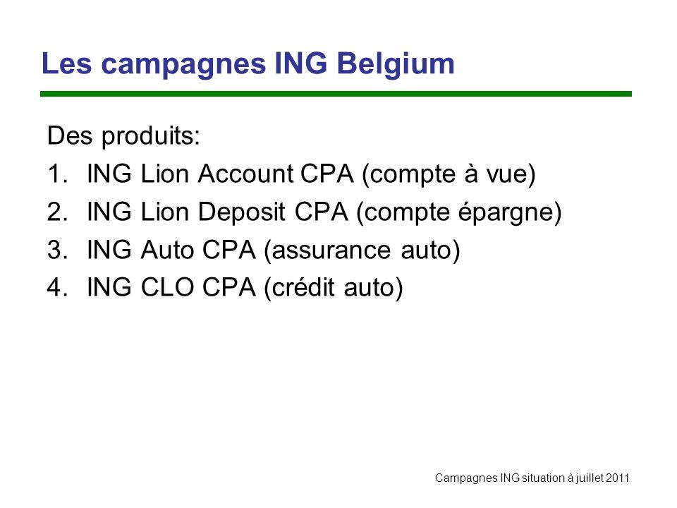 Campagnes ING situation à juillet 2011 Les campagnes ING Belgium Des produits: 1.ING Lion Account CPA (compte à vue) 2.ING Lion Deposit CPA (compte ép