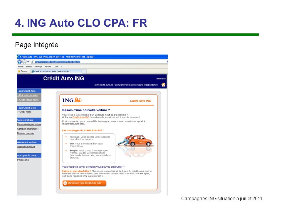 Campagnes ING situation à juillet ING Auto CLO CPA: FR Page intégrée