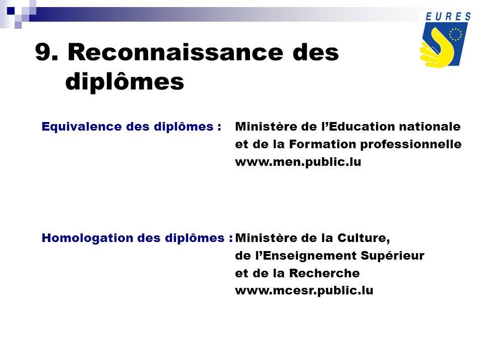 9. Reconnaissance des diplômes Equivalence des diplômes :Ministère de lEducation nationale et de la Formation professionnelle www.men.public.lu Homolo
