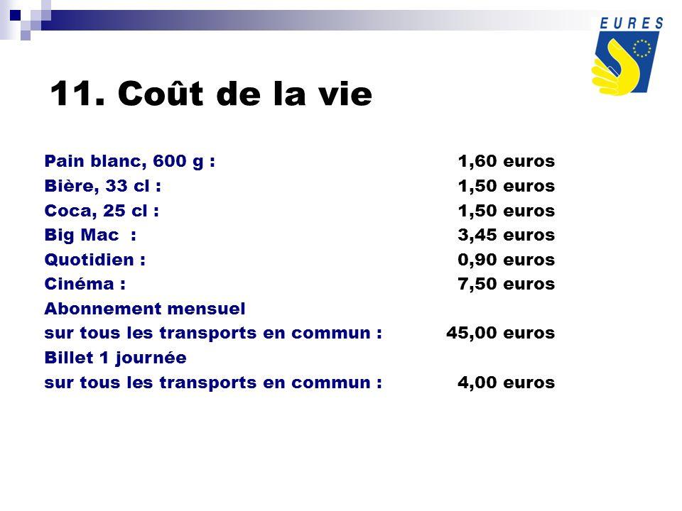 11. Coût de la vie Pain blanc, 600 g :1,60 euros Bière, 33 cl :1,50 euros Coca, 25 cl :1,50 euros Big Mac :3,45 euros Quotidien : 0,90 euros Cinéma :7