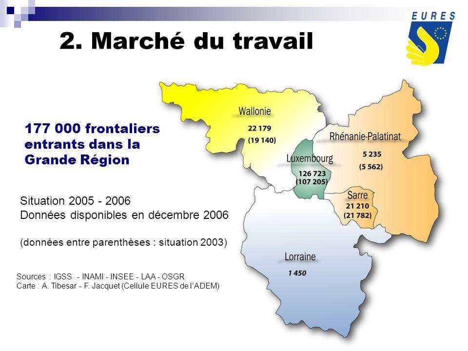 177 000 frontaliers entrants dans la Grande Région Situation 2005 - 2006 Données disponibles en décembre 2006 (données entre parenthèses : situation 2003) Sources : IGSS - INAMI - INSEE - LAA - OSGR Carte : A.