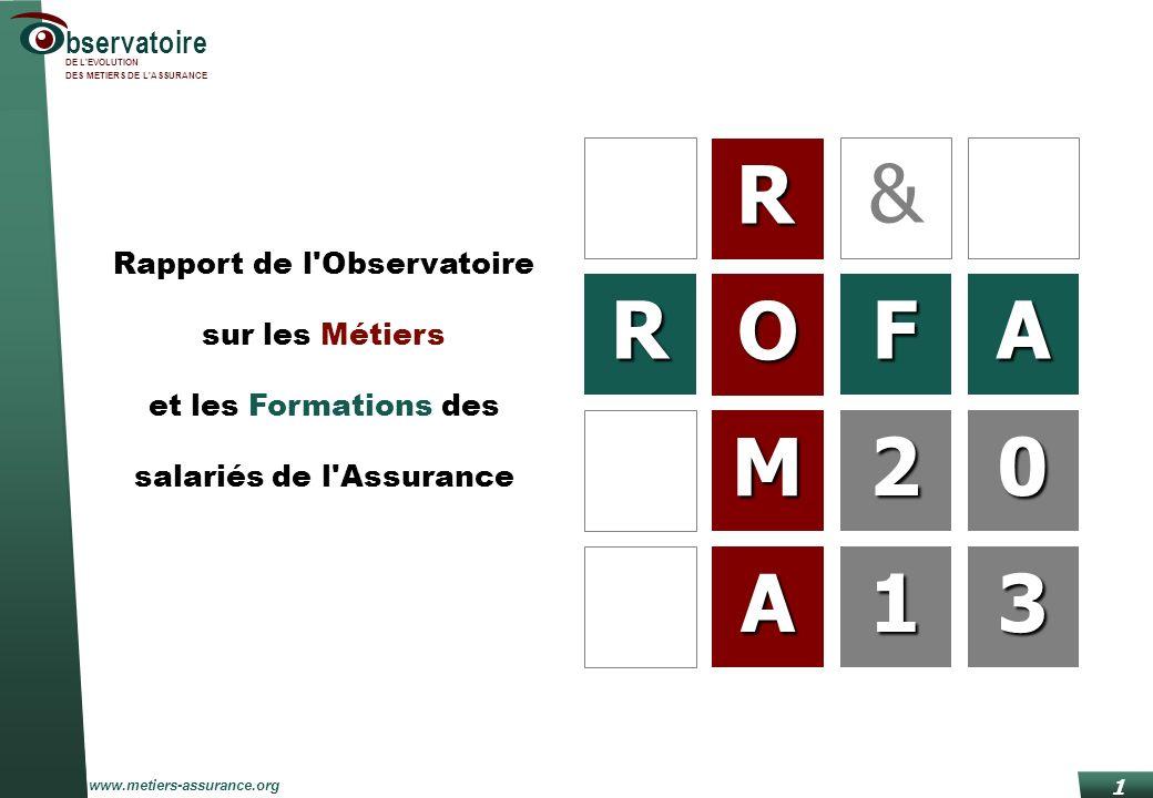 Roma/Rofa 2013 www.metiers-assurance.org bservatoire DE L'EVOLUTION DES METIERS DE L'ASSURANCE 1 R O M A RFA 20 13 & 2 1 Rapport de l'Observatoire sur