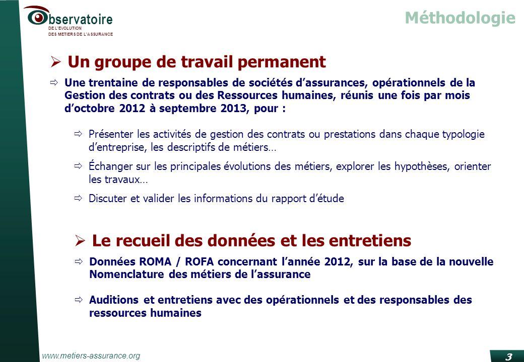 www.metiers-assurance.org bservatoire DE L'EVOLUTION DES METIERS DE L'ASSURANCE 3 Un groupe de travail permanent Une trentaine de responsables de soci