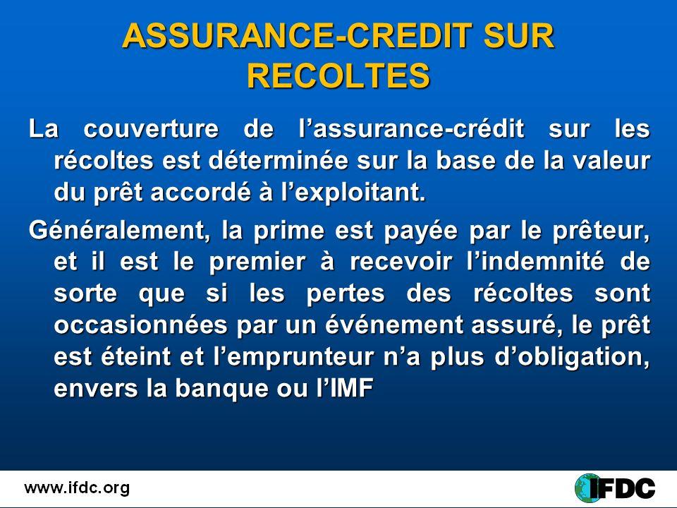 ASSURANCE-CREDIT SUR RECOLTES La couverture de lassurance-crédit sur les récoltes est déterminée sur la base de la valeur du prêt accordé à lexploitant.