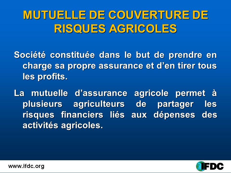 MUTUELLE DE COUVERTURE DE RISQUES AGRICOLES Société constituée dans le but de prendre en charge sa propre assurance et den tirer tous les profits.