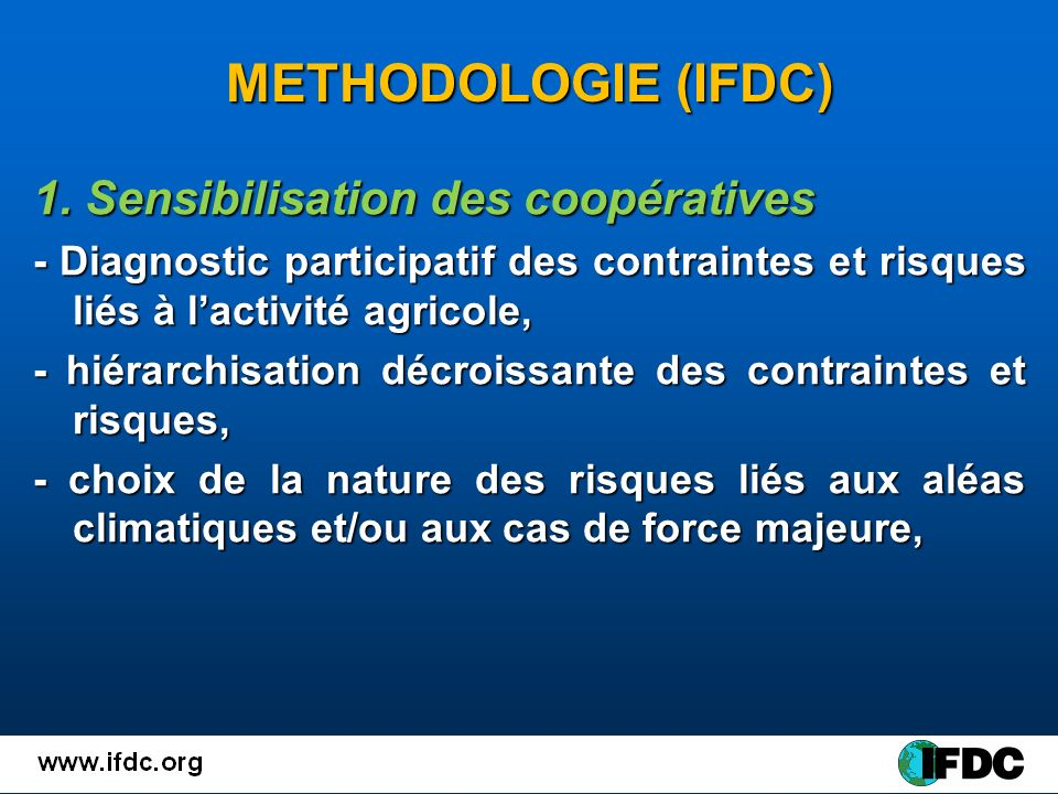 METHODOLOGIE (IFDC) 1.