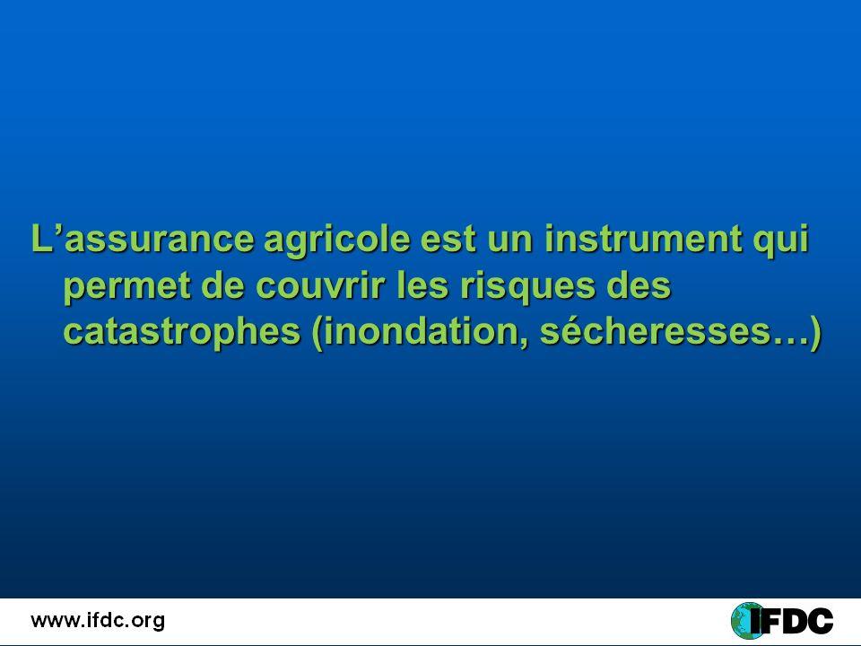 Lassurance agricole est un instrument qui permet de couvrir les risques des catastrophes (inondation, sécheresses…)