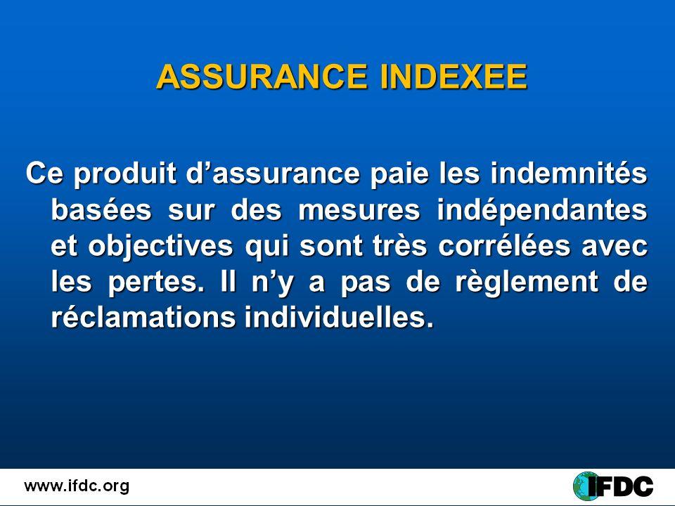 ASSURANCE INDEXEE ASSURANCE INDEXEE Ce produit dassurance paie les indemnités basées sur des mesures indépendantes et objectives qui sont très corrélées avec les pertes.