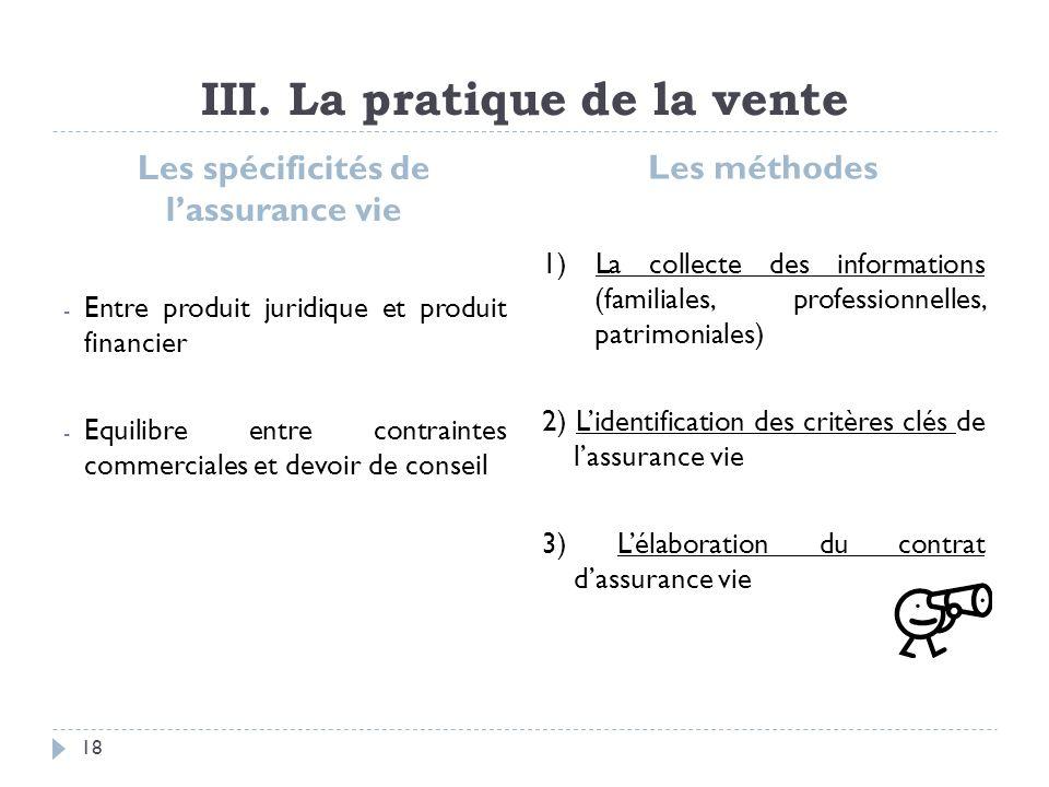 III. La pratique de la vente Les spécificités de lassurance vie - Entre produit juridique et produit financier - Equilibre entre contraintes commercia