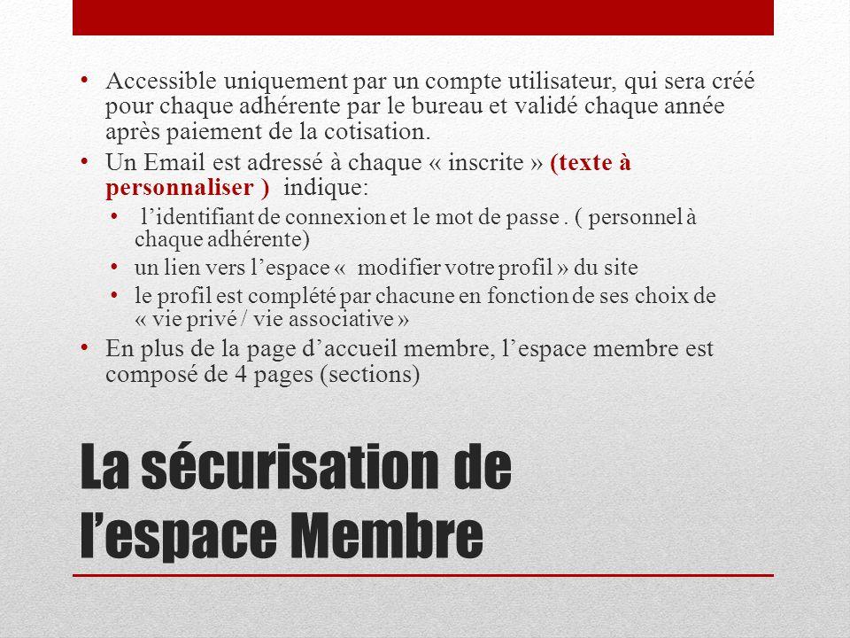 La sécurisation de lespace Membre Accessible uniquement par un compte utilisateur, qui sera créé pour chaque adhérente par le bureau et validé chaque