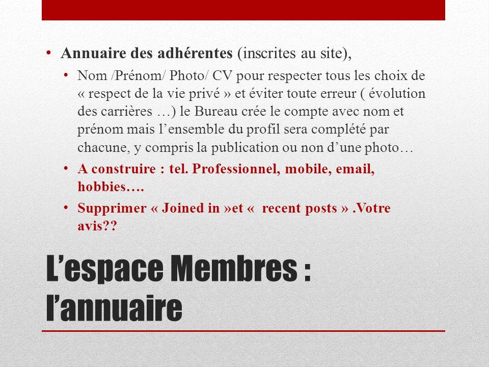 Lespace Membres : lannuaire Annuaire des adhérentes (inscrites au site), Nom /Prénom/ Photo/ CV pour respecter tous les choix de « respect de la vie p