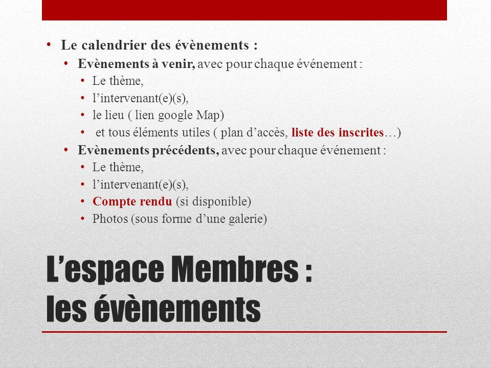 Lespace Membres : les évènements Le calendrier des évènements : Evènements à venir, avec pour chaque événement : Le thème, lintervenant(e)(s), le lieu