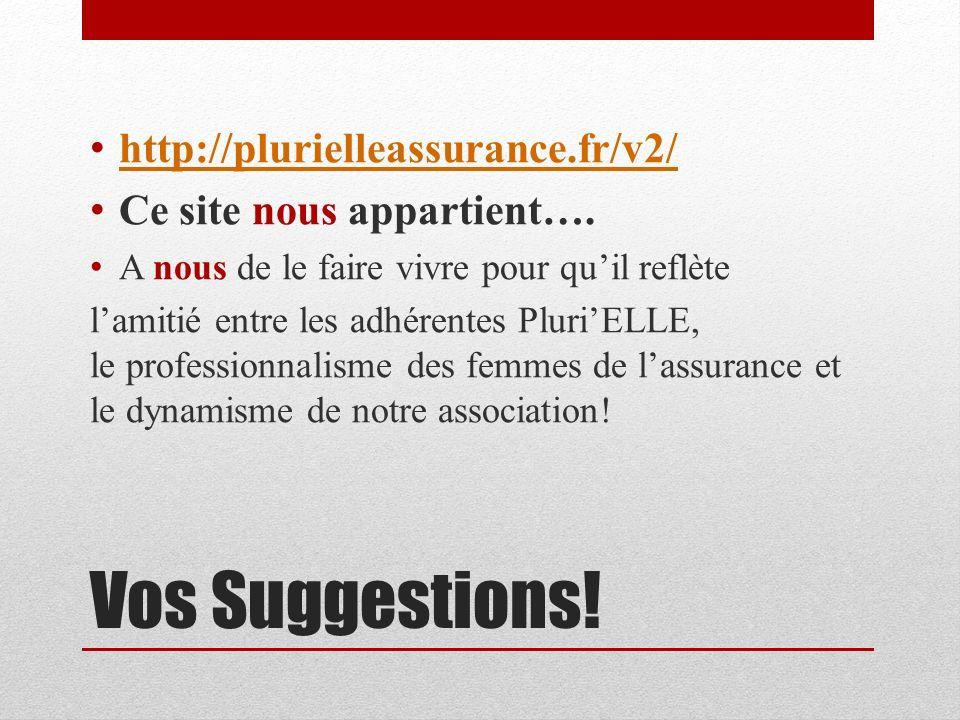 Vos Suggestions! http://plurielleassurance.fr/v2/ Ce site nous appartient…. A nous de le faire vivre pour quil reflète lamitié entre les adhérentes Pl