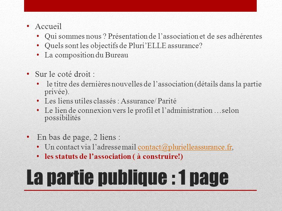 La partie publique : 1 page Accueil Qui sommes nous ? Présentation de lassociation et de ses adhérentes Quels sont les objectifs de PluriELLE assuranc