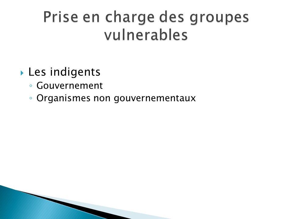 Les indigents Gouvernement Organismes non gouvernementaux