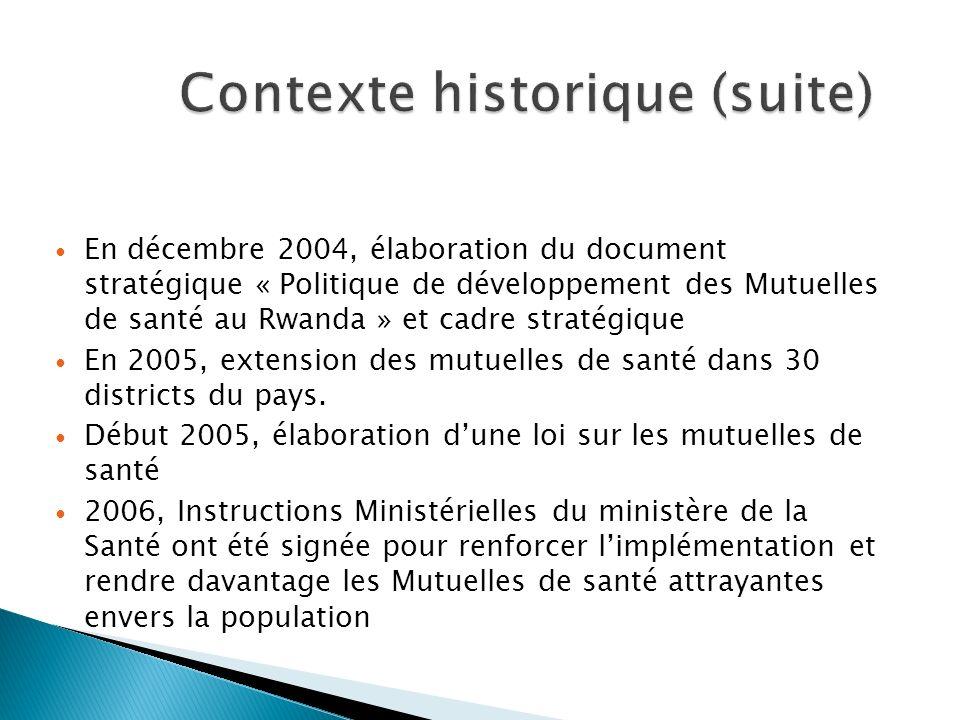 En décembre 2004, élaboration du document stratégique « Politique de développement des Mutuelles de santé au Rwanda » et cadre stratégique En 2005, ex