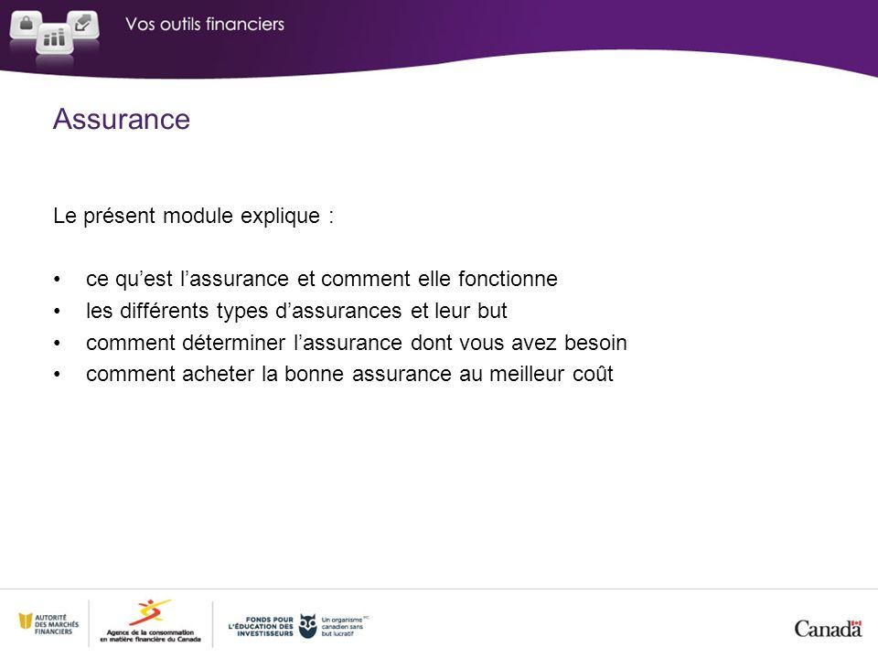 Assurance Le présent module explique : ce quest lassurance et comment elle fonctionne les différents types dassurances et leur but comment déterminer lassurance dont vous avez besoin comment acheter la bonne assurance au meilleur coût