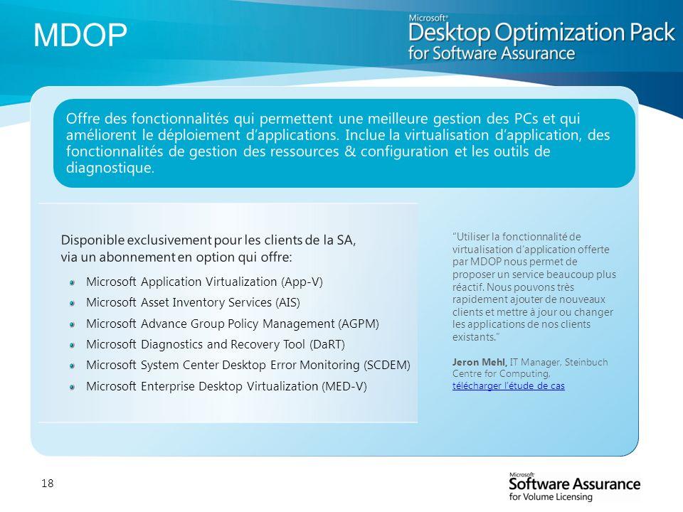 18 Disponible exclusivement pour les clients de la SA, via un abonnement en option qui offre: Microsoft Application Virtualization (App-V) Microsoft A