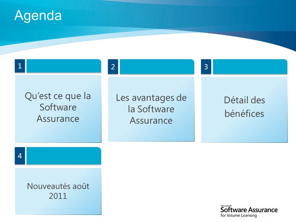 2 1 1 Quest ce que la Software Assurance Agenda Détail des bénéfices 3 3 Les avantages de la Software Assurance 2 2 Nouveautés août 2011 4 4