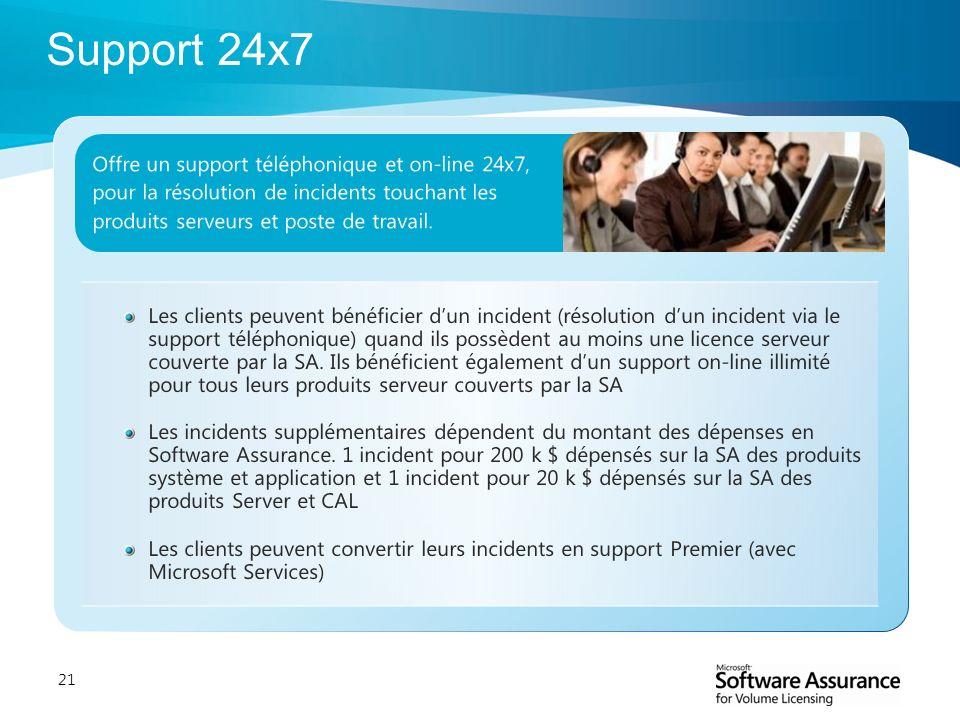 21 Offre un support téléphonique et on-line 24x7, pour la résolution de incidents touchant les produits serveurs et poste de travail. Les clients peuv