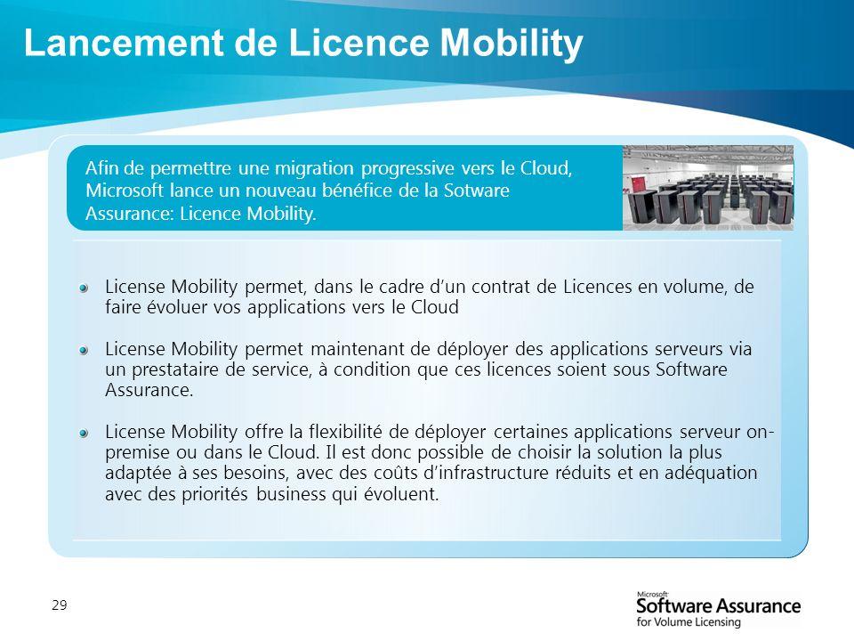 29 License Mobility permet, dans le cadre dun contrat de Licences en volume, de faire évoluer vos applications vers le Cloud License Mobility permet m