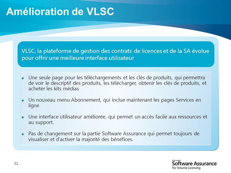 31 VLSC, la plateforme de gestion des contrats de licences et de la SA évolue pour offrir une meilleure interface utilisateur Une seule page pour les