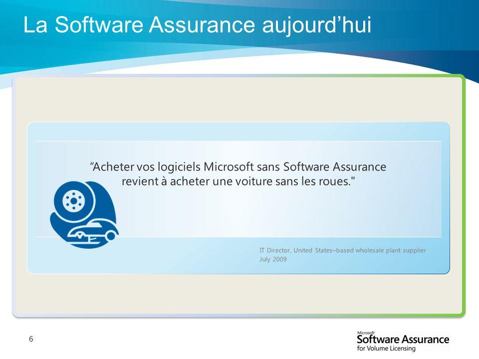 6 IT Director, United States–based wholesale plant supplier July 2009 Acheter vos logiciels Microsoft sans Software Assurance revient à acheter une vo