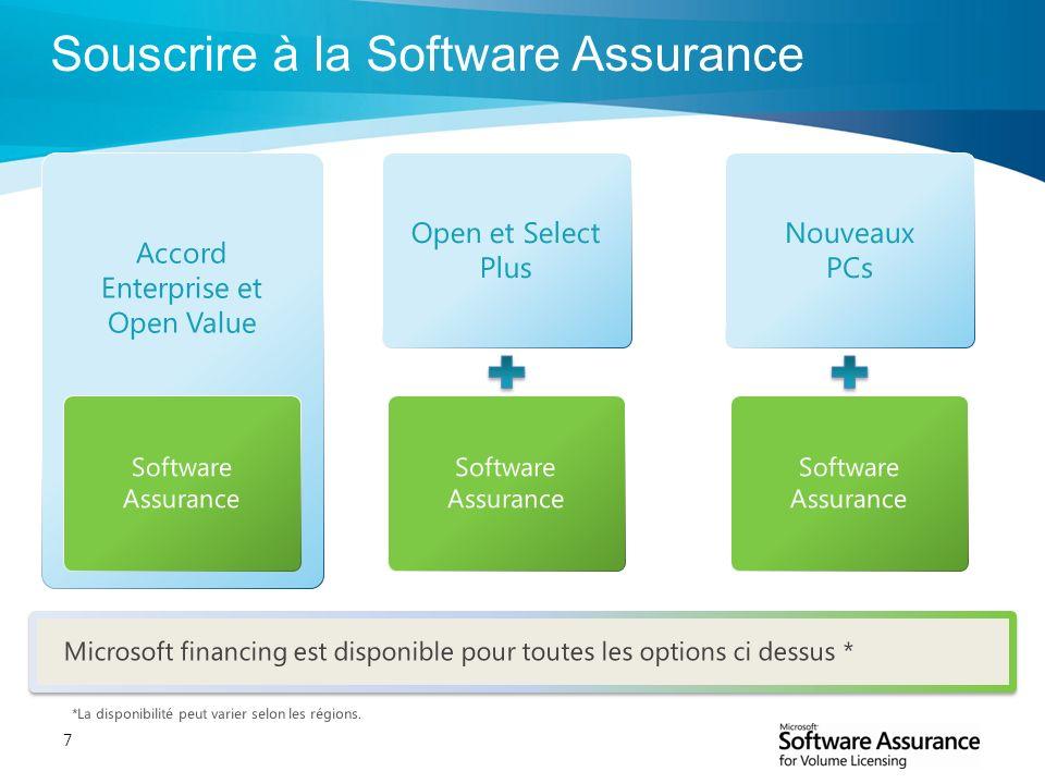 7 Souscrire à la Software Assurance Open et Select Plus Accord Enterprise et Open Value Nouveaux PCs Software Assurance *La disponibilité peut varier