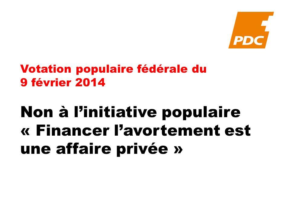 Votation populaire fédérale du 9 février 2014 Non à linitiative populaire « Financer lavortement est une affaire privée »