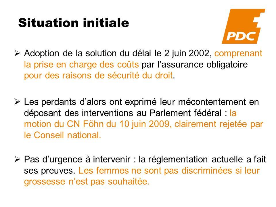 Situation initiale Adoption de la solution du délai le 2 juin 2002, comprenant la prise en charge des coûts par lassurance obligatoire pour des raisons de sécurité du droit.