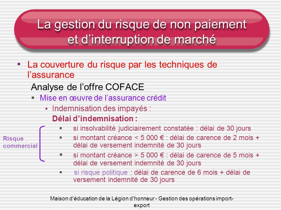 Maison d'éducation de la Légion d'honneur - Gestion des opérations import- export La gestion du risque de non paiement et dinterruption de marché La c